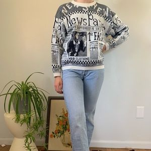 Vintage 80s Black White Newspaper Knit Sweater